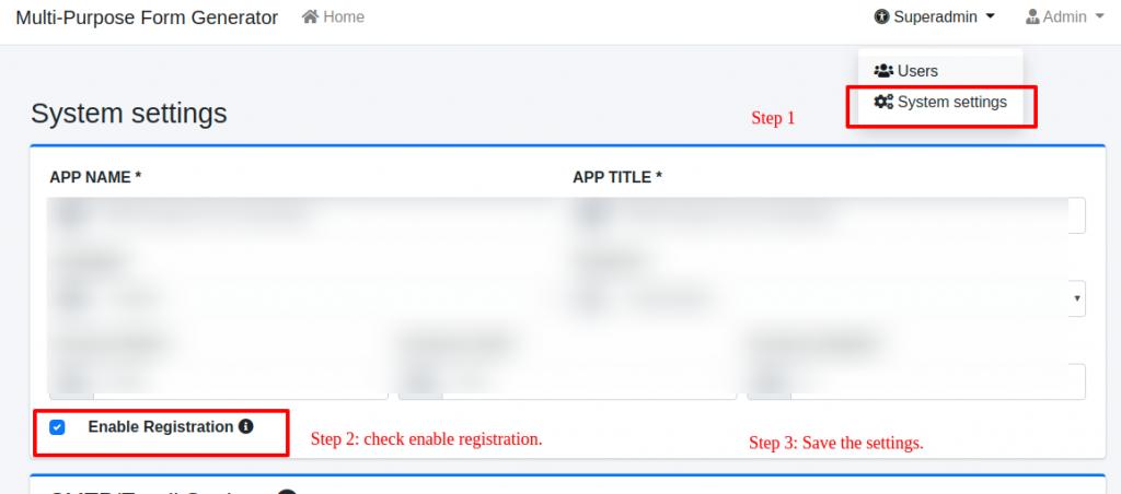 Enabling registration in multi purpose form generator