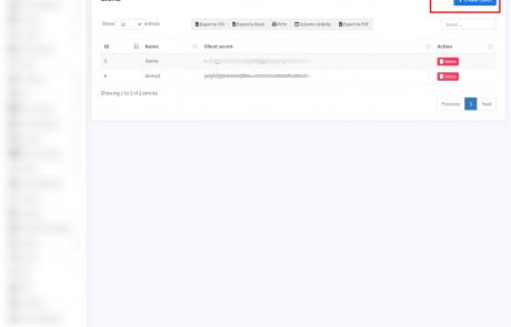 Creating API Client id & client secret